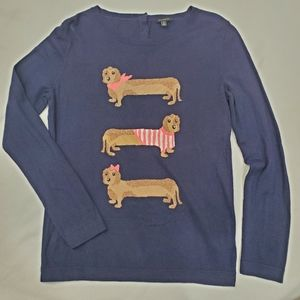 NEW TALBOTS Dachsund dogs navy pullover sweater